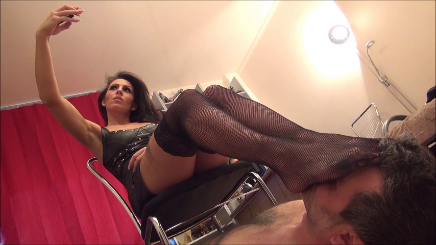 OLIVIA – Footstool And Selfies In Fishnets – PART1